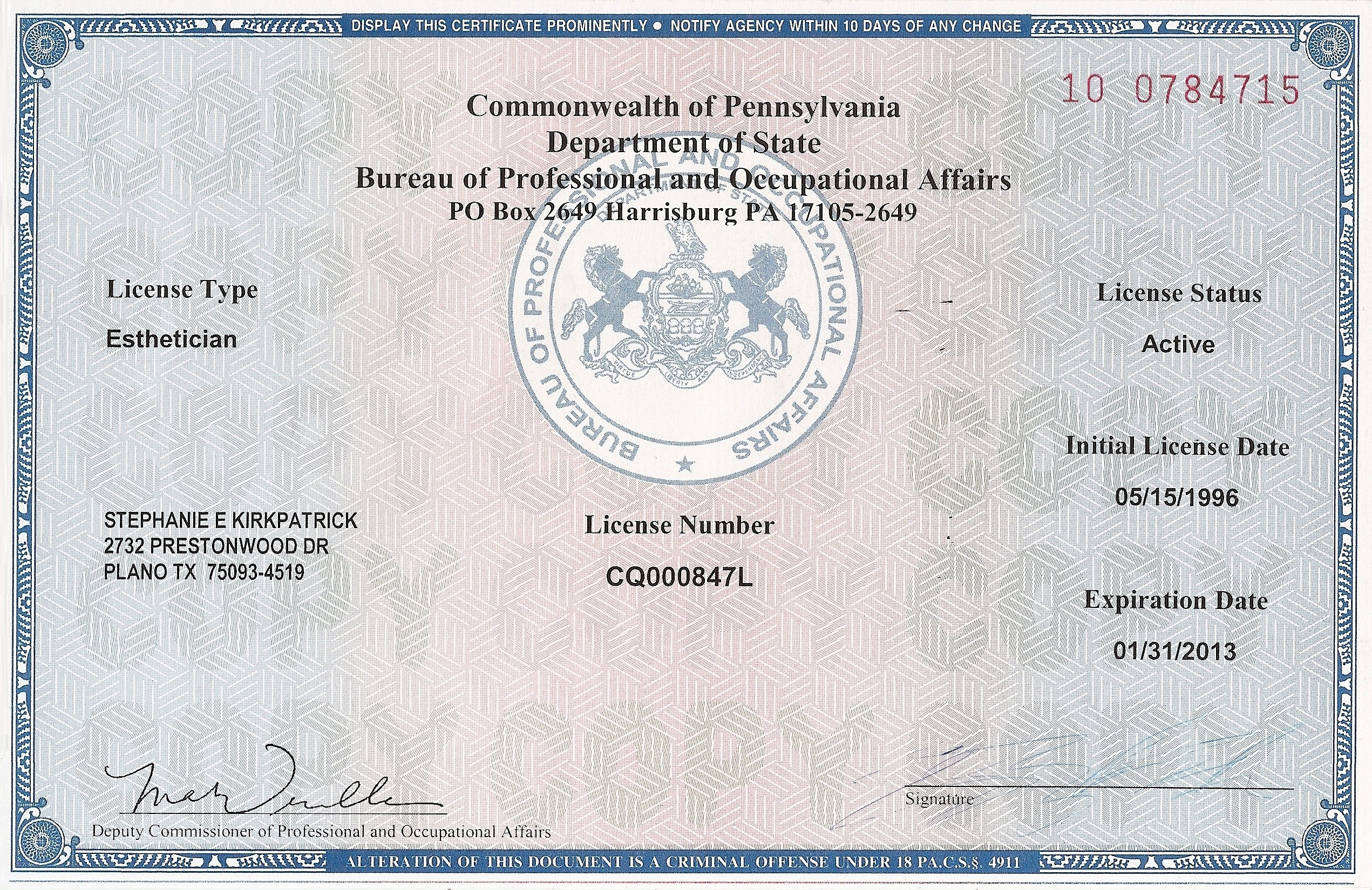 Esthetician+License Certifications » Pennsylvania Esthetician License