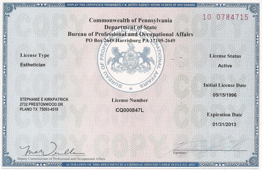 pennsylvania esthetician license | 4a skincare